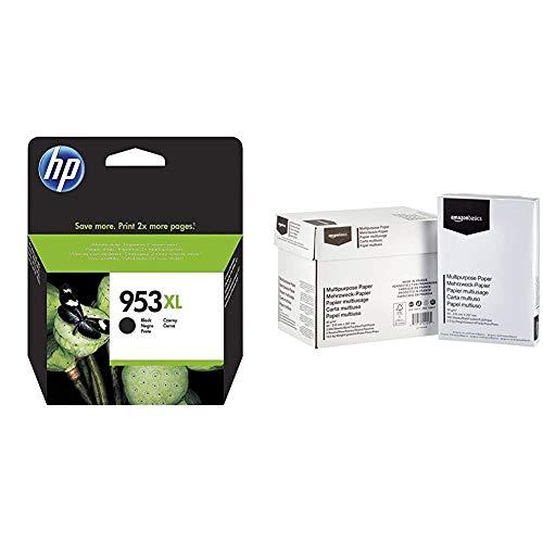 HP 953XL cartouche d'encre noir grande capacité authentique (L0S70AE) & AmazonBasics Papier multiusage A4 80gsm, 5x500 feuilles, blanc