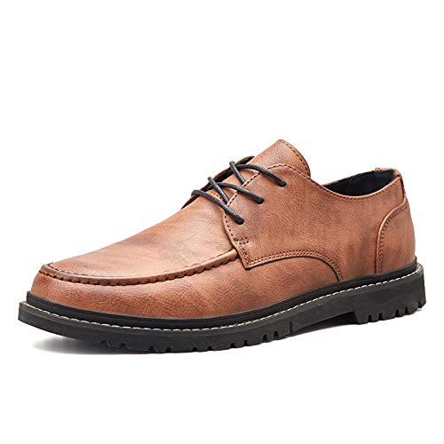 Battle Men Classic Oxford for Men Casual Loafers Fashion Comfortable Lace Up British Style Flats Shoes PU Leather Upper Round Toe Abrasion Resistant Fashion (Color : Brown, Size : 6.5 D(M) US)