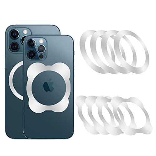 Anillo de teléfono móvil para cargador inalámbrico, kit de conversión, anillo magnético de metal universal, anillo magnético para smartphone y cargadores inalámbricos (plata-8)