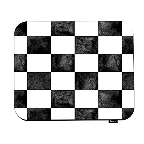 Swono Plaid Mouse Pads Black and White Checkered Plaid Texture Mouse Pad for Laptop Funny Non-Slip Gaming Mouse Pad for Office Home Travel Mouse Mat 7.9'X9.5'