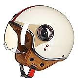 HZIH Casco De Moto,Retro Medio Cascos con Gafas de Protección Casco Moto De Cara Abierta,ECE Casco Abierto Cruiser Scooter Bike Chopper Casco De Media Carcasa Casco De Seguridad S,L=59-60cm