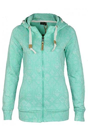 Eight2Nine Damen Sweatjacke mit Ethnomuster | Sportlicher Hoodie in Melange-Optik mit Zipper Light-Turquoise S