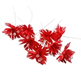 ヘアピン ヘッドバンド 人工エーデルワイス花 10個入れ 髪飾り 成人式 卒業式 結婚式 全4選択 - 赤