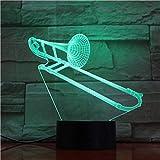 AOXULIU Luz de noche Diseño De Cuerno Lámpara De Noche 3D Trombón Mesa De Instrumentos Musicales Luces Led Lámpara De Escritorio Colorida Decoración Iluminación Decoración De Fiesta Luz Base Negra