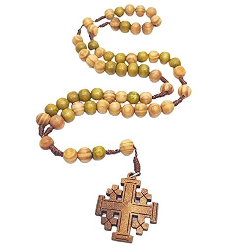 Kkoqmw Colgante de Collar de Cruz de Rosario de Cuentas de oración de Madera de Jesús de 10 mm
