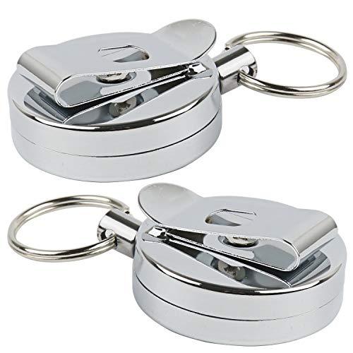 MHOYI einziehbare Schlüsselrolle, Schlüsselanhänger, Metall, Edelstahl, Diebstahlschutz, Sicherheits-, strapazierfähig, einziehbarer Schlüsselanhänger mit Gürtelclip (silberfarben, 2 Stück)