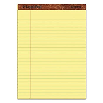 TOPS The Legal Pad Writing Pads 8-1/2  x 11-3/4  Canary Paper Legal Rule 50 Sheets 12 Pack  7532
