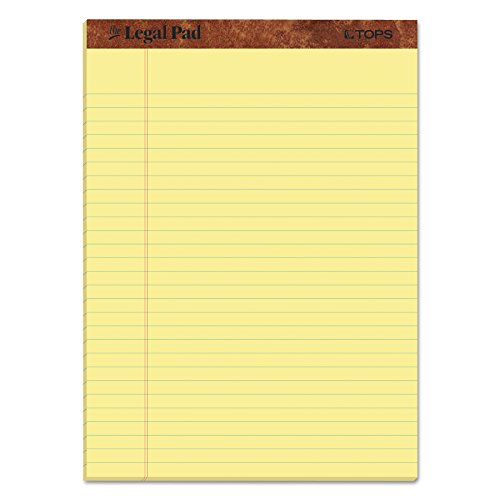 "TOPS The Legal Pad Writing Pads, 8-1/2"" x 11-3/4"", Canary Paper, Legal Rule, 50 Sheets, 12 Pack (7532)"