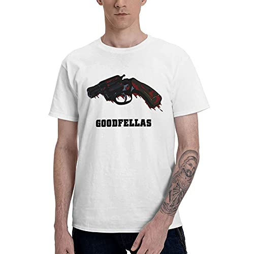 COOTHING Goodfellas Revolver Men s Lightweight Casual Printed Basic Crew Neck White Tee Activewear