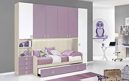 Dafne Italian Design Dormitorio completo con puente, efecto abedul, blanco, cuarzo (doble cama individual y armario) (300 x 96 x 259 cm)