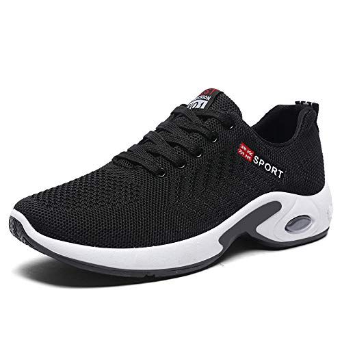 Aerlan Treaded Sole Trainers,Calzado de Fitness para Trail Running,Zapatillas de Running Tejidas voladoras Zapatillas de Deporte de Suela Suave Casuales cómodas-Black_41#