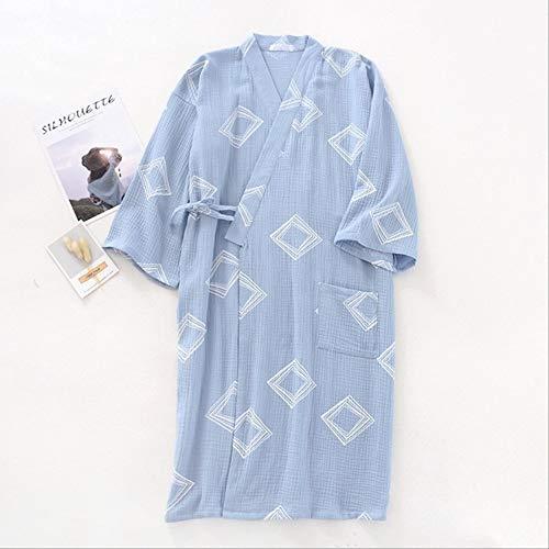 XFLOWR Frühjahr und Sommer Herren Nachtwäsche Simple Style Comfort Gaze Baumwollroben Kimono Style Loose Thin Homewear Herren Bademantel M Blau