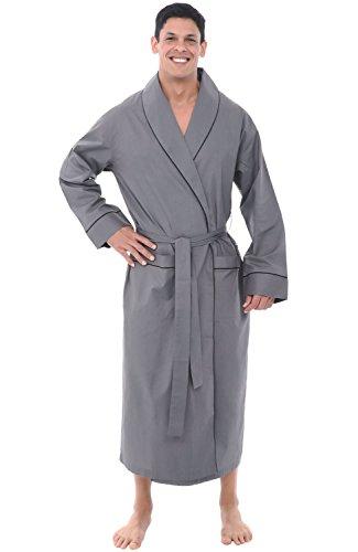 Alexander Del Rossa Mens Lightweight Cotton Robe, Large Steel Grey (A0715STLLG)