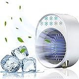 Mobile Klimageräte, Mini Air Cooler und Luftbefeuchter + Ventilator mit Nachtlicht, 7 In 1 Persönlicher Luftkühler, für Schlafzimmer Büro Wohnzimmer Schreibtische und Esstische Weiß