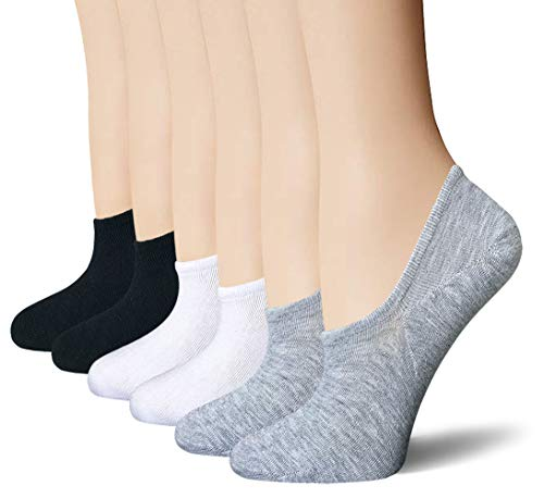 BERING Women's No Show Socks 6-9 Pairs Cotton Non Slip Flats Liner Boat