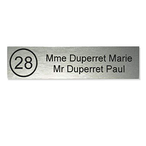Plaque boite aux lettres NUMERO format Decayeux (100x25mm) gris argent lettres noires - 2 lignes - Plastique - 0.16