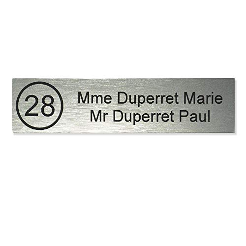 Plaque boite aux lettres NUMERO format Decayeux (100x25mm) gris argent lettres noires - 2...