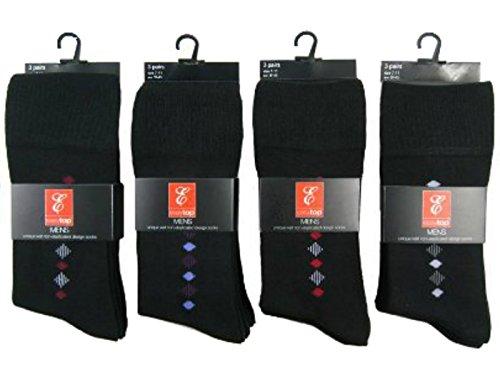 Hosiery-Direct-UK Lot de 6 paires de chaussettes non élastiquées pour homme Motif losanges Bout et talon renforcés Coton