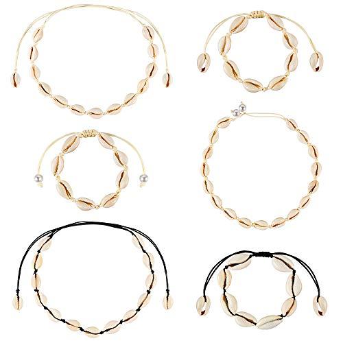 6 pezzi collane girocollo conchiglia naturale stile bohemien regolabile fatto a mano conchiglia collana conchiglia conchiglia da spiaggia per donne ragazze