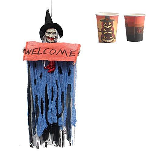 YCGJ 3,77 Ft Halloween Dekoration Geist Gespenst Gruselige Hexe Skelett Hängend, Touch/Sound Control, 2020 [10-Stück-Halloween Theme Paper Cup],Blau