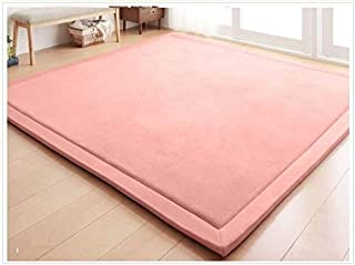Baby Play Mat, V-mix Handmade weaving Plush Foam Play Crawling Rugs for Baby, Children Play Blanket, Yoga Mat, Exercise Mat-Cushy- Soft & Thick Hypoallergenic, Non-toxic, Reversible (200240CM, Pink)
