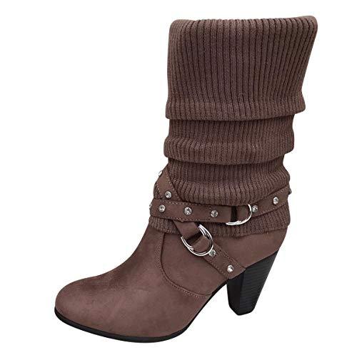 Damen Stiefel Strick Stiefeletten Boots Strickschaft High Heels leicht gefüttert BL62 (37 EU, Braun ST77)