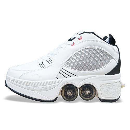 QINAIDI Schuhe Roller, Roller Sneakers Schuhe Räder, Quad Roller Pulley Schlittschuhe für Erwachsene Outdoor-Sportarten,Weiß,40