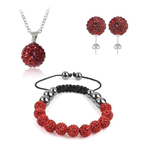 GGG Nuevas mujeres de moda Rhinestone Bead joyas conjunto pendientes pulsera collar colgante color rojo