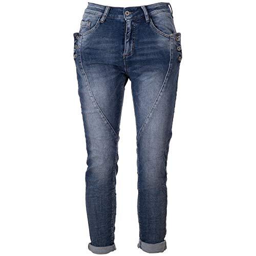Basic.de Damen Boyfriend-Hose mit 3 Knopf-Tasche Melly & CO 8171 Jeans-Stoff L