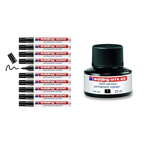 Edding 3000-001 - Marcador permanente, 10 unidades, color negro + MTK25-001 - Frasco de tinta permanente de 30ml, sistema capilar, color negro