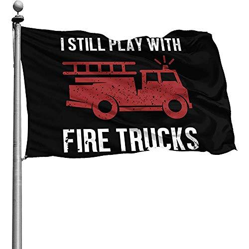 qinzuisp Vlag Ik nog steeds spelen met vrachtwagens Vuur Vrachtwagens Outdoor vlaggen Binnenplaats Tuin 150X90Cm Terras Balkon Duurzame Yard Banner