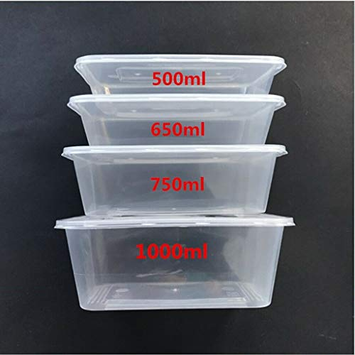 Plastic Microwave Freezer Safe-Lunch Boxes - Food containers and Lids, Suitable for Batch Cooking Ready Meals, Chilli, Pasta, Rice, Curry, Potatoes and Other use (10, 650ml)
