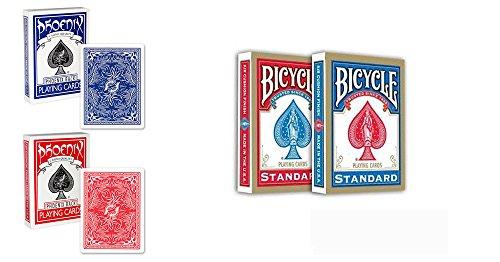 4 mazzi Carte : 2 Phoenix + 2 Bicycle colore Blu/Rosso