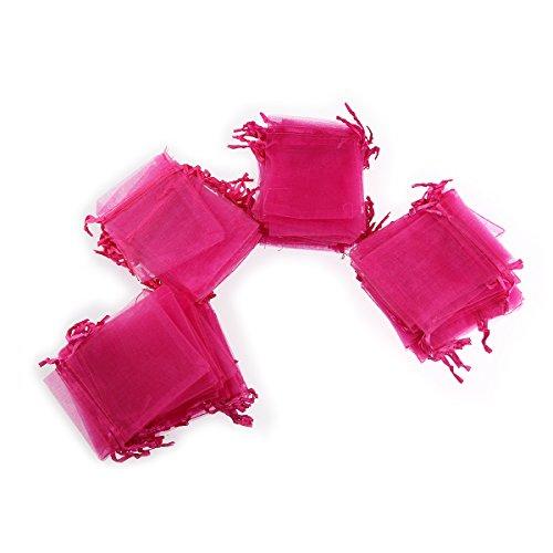 Foxnovo 100X Organzabeutel Schmuckbeutel Geschenkbeutel Säckchen Beutel aus Organza,7x9cm (rosa)