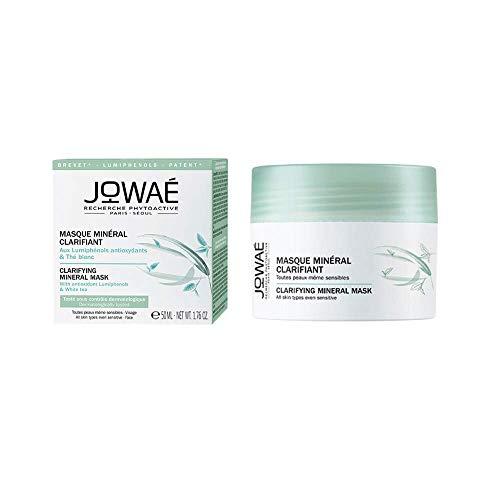 Jowaé Maschera Minerale Schiarente Viso ai Lumifenoli Antiossidanti e Tè bianco, Levigante, Esfoliante, Adatta a Tutti i Tipi di Pelle anche la più Sensibile. Formato da 50 ml