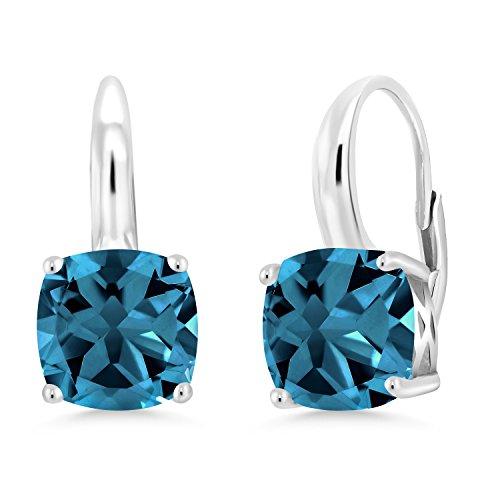 Gem Stone King London Blue Topaz 925 Sterling Silver Earrings 5.48 Ct Cushion Cut Gemstone Birthstone 8MM