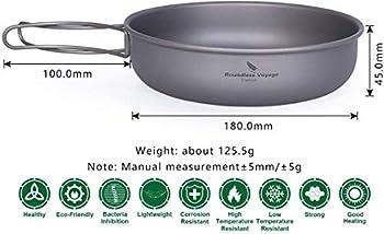 zyvoyage Titan Pfann Poêle à frire de camping avec poignée pliante, diamètre 180 x 45 mm, ultra légère 125,5 g, kit de vaisselle de voyage