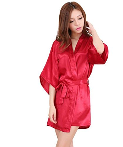 Matissa Ropa de dormir Kimono sexy ropa de dormir de seda satén bata de baño de encaje G String (largo, rojo)
