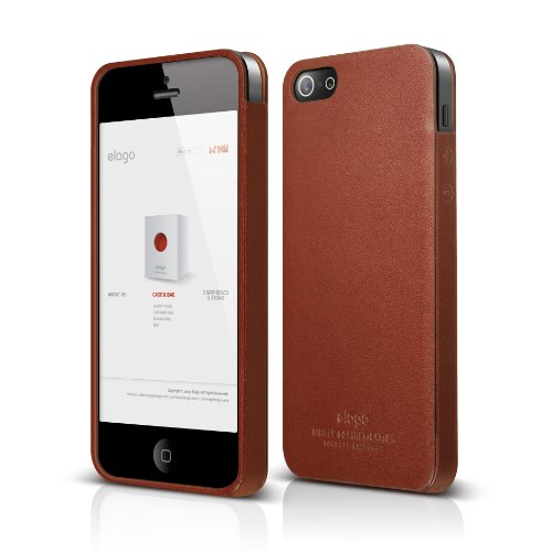 elago S5 Leather Case for iPhone 5/5S + HD Professional Extreme Clear Film Included - Full Retail Packaging (Genuine Leather Pocket)