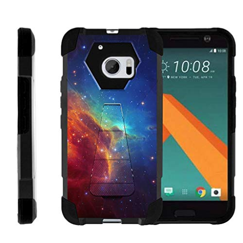 TurtleArmor | Compatible with HTC 10 Case | One M10 Case | HTC 10 Lifestyle [Dynamic Shell] Hybrid Dual Layer Hard Shell Kickstand Silicone Case - Colorful Nebula Galaxy