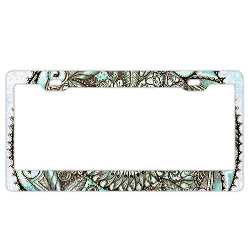 Promini Abstract Beautiful Mandala4 License Plate Frame Car License Plate Covers Auto Tag Holder 6' x 12'