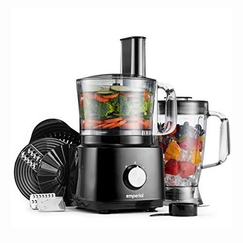 Emperial 750W Food Processor - Blender, Chopper, Multi Mixer Machine with Dough Blade, Shredder, Juicer & Grater Attachments – Multifunctional - 2L Mixing Bowl & 1.8L Jug - Black