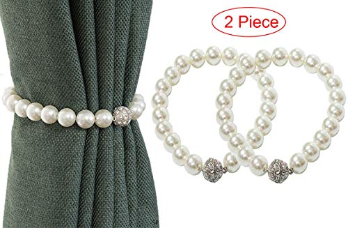 2 Stück Vorhang Raffhalter clips Seil vorhang Magnetisch Zurückbindenfür Holdbacks für Verdunkelungsvorhänge und Vorhänge Perlweiß
