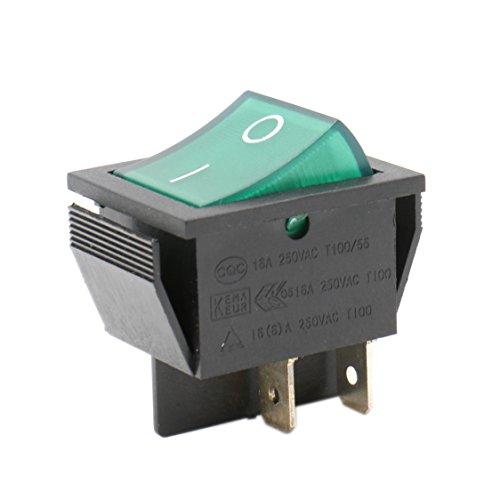 Heschen - Interruttore a bilanciere, acceso/spento, DPST, 4terminali con luce verde, 16A, 250V CA. Nr.2pezzi.