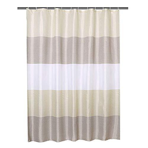 シャワーカーテン150浴室窓お風呂ポリエステルおしゃれ撥水加工リング付お手入れ取付簡単150*180cm、ベージュ