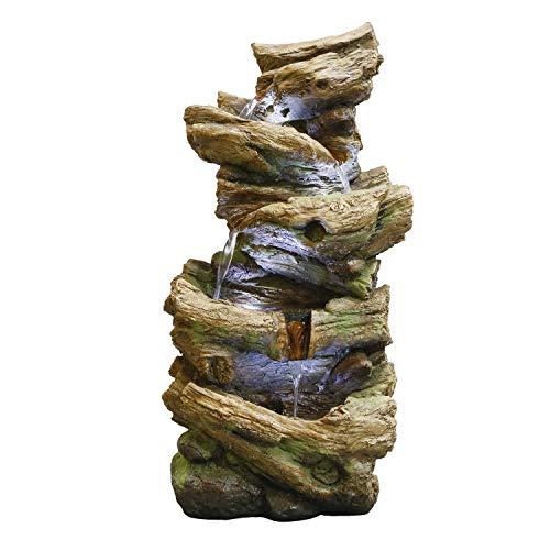 Alpine Corporation TZL226 Alpine 4-Tier Tree Trunk Log Fountain, Brown and Gray