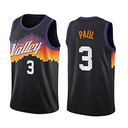 Maglia da basket da uomo - Chris Paul - Uniforme da basket Phoenix Suns # 3, maglia City Edition ricamata in maglia da basket Swingman,Nero,L