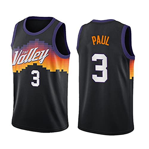 RUBAPOSM Camiseta de baloncesto para hombre - Chris Paul - Uniforme de baloncesto #3 de los Phoenix Suns, camiseta de edición de la ciudad Camiseta de baloncesto de Swingman,Negro,M