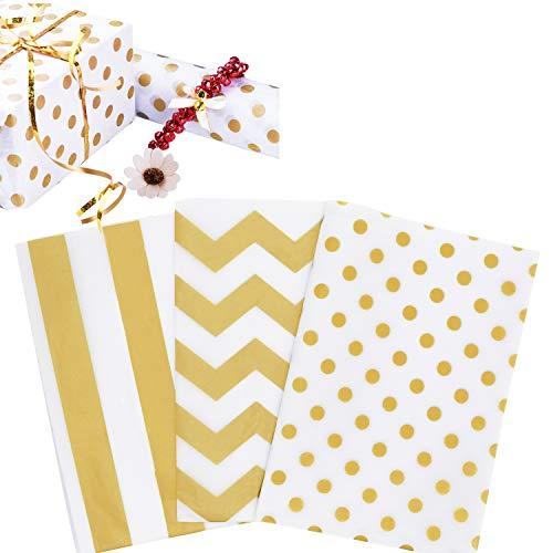 ZKSM 60 Blatt Geschenkpapier Gold Geschenkpapier mit 3 Verschiedene Designs Stylischen Einschlagpapier für Geschenkverpackung, Geburtstag, Party (70 x 50 cm/ 19.7*27.6 inch)