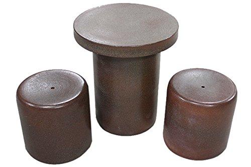 テーブルセット 火色斑点テーブルセット3点 15号 ガーデンテーブル アウトドア 信楽焼 陶器